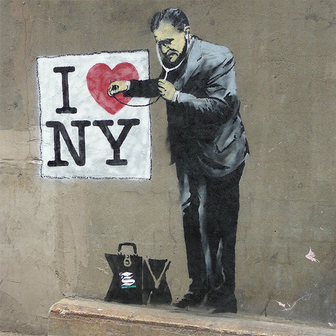 Banksy I love NY – Graffiti Street Art, Print on metal (Dibond)