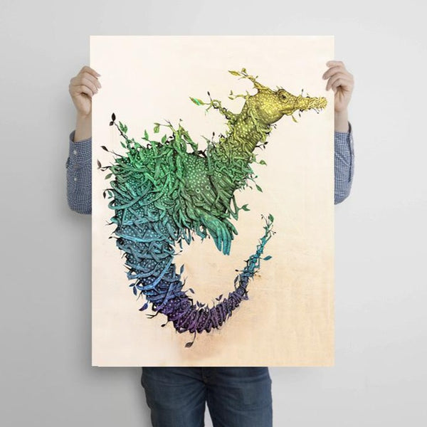 Dragon with Leaves and Branches, Graffiti – Metal Poster