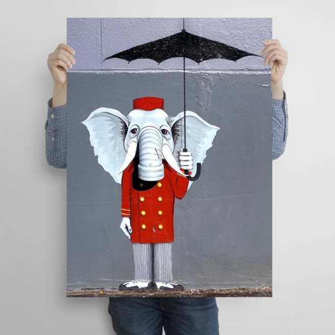 Elefant with Umbrella Graffiti Street Art (Italy) – Metal Poster