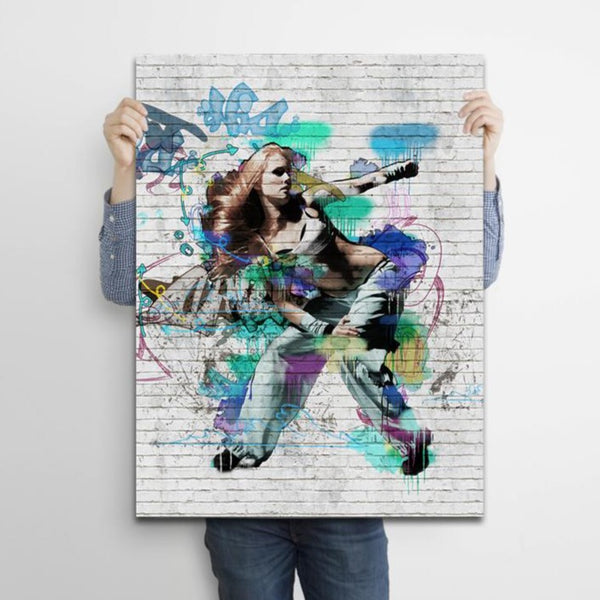 Dancing Girl Graffiti on Brick Wall – Metal Poster