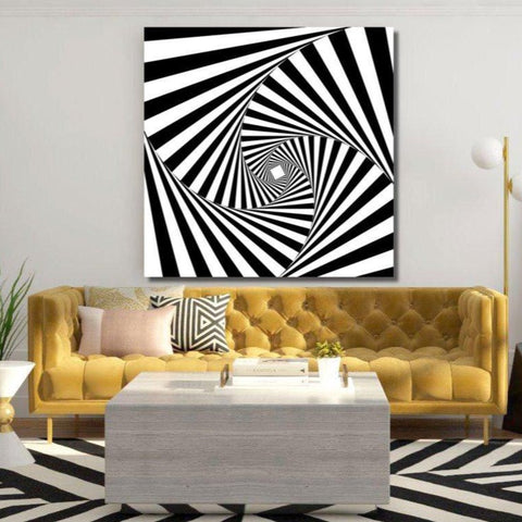 Black and White Abstract Digital Art Time Spiral – Metal Art Print