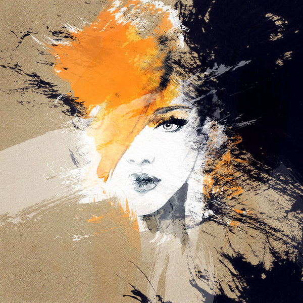 Woman Portrait in black/orange – Abstract Art Printed on Metal