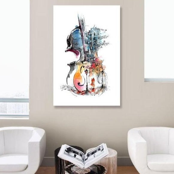 Violin Watercolor Painting – Extra Large Metal Art Print