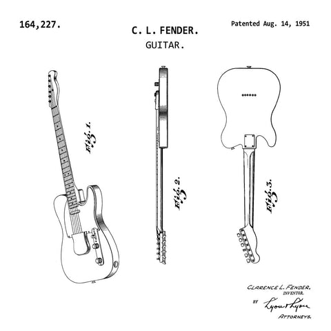 GUITAR (1951, C. L. FENDER) Patent Print-New Art Mix-newARTmix