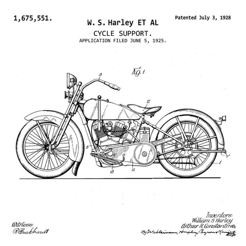 Harley-Davidson Motorcycle  (1925, W. S. Harley) Patent Print