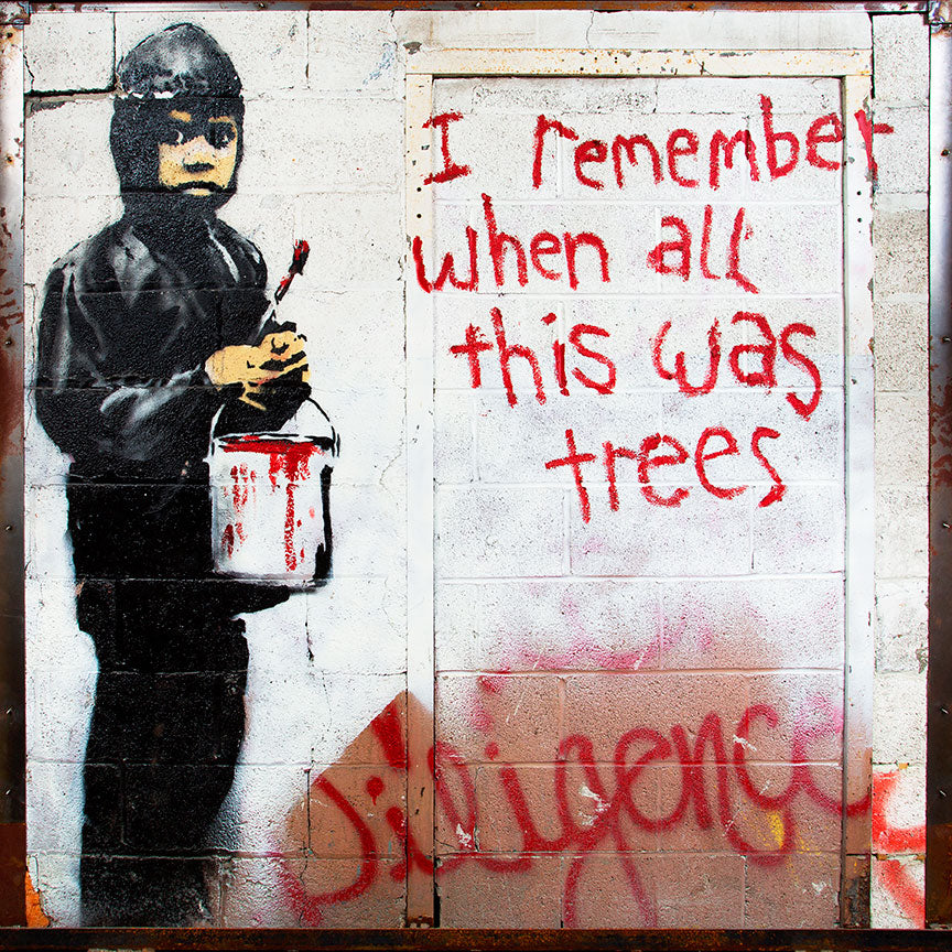 Banksy I remember when all this was a trees – Street Art – Print on metal (Dibond)