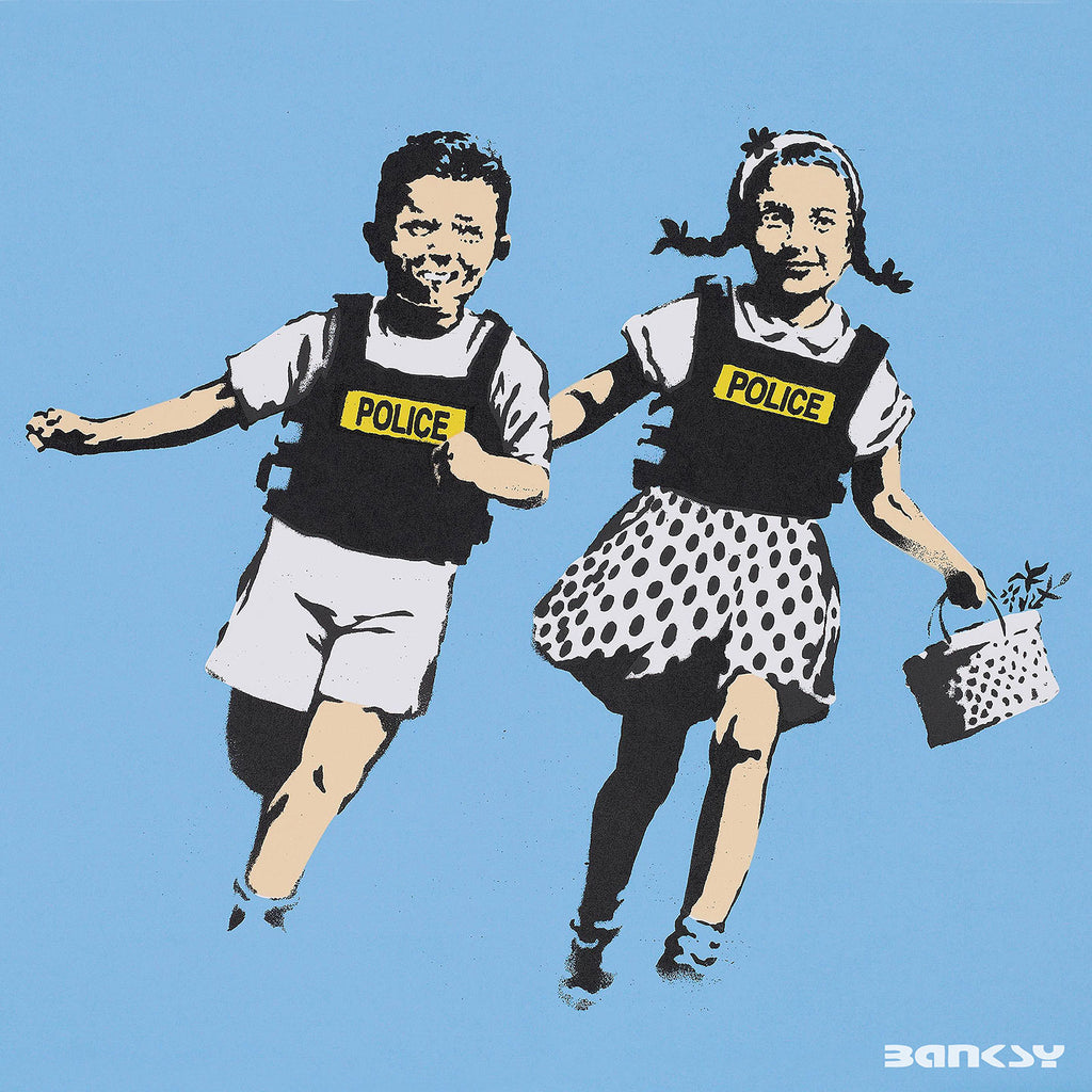 Banksy Police Kids Jack And Jill, Graffiti Street Art – Print on Metal