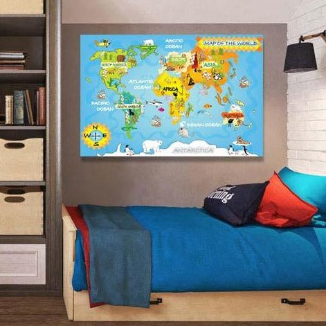 World Animal Map – Extra Large Digital Art for Kids – Print on Metal