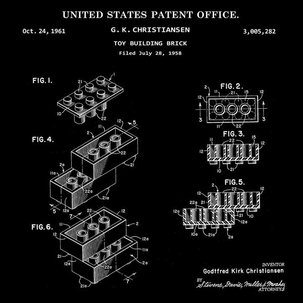LEGO TOY BUILDING BRICK (G. K. CHRISTIANSEN, 1961) Descktop Patent Print-New Art Mix-newARTmix