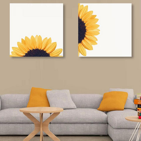 Sunflower on White Background – Modern Art on metal
