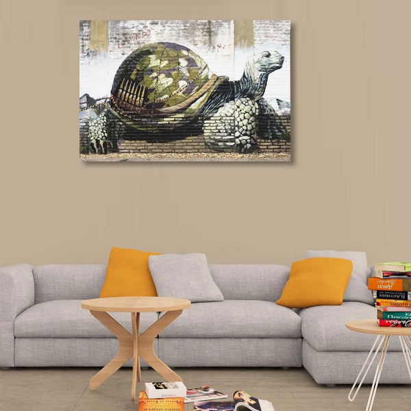 Graffiti Tortoise with Ammunition on Shell – Extra Large Art Print on Metal