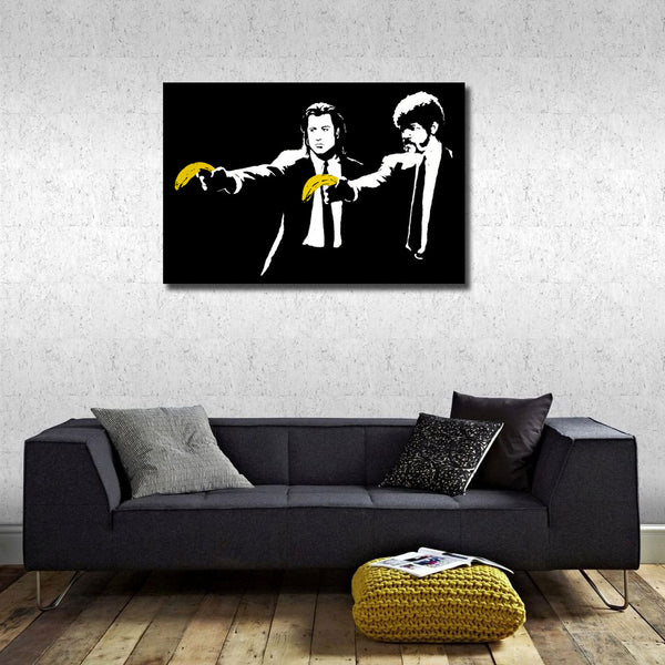 Banksy Pulp Fiction Bananas, Graffiti Street Art, Print on Metal