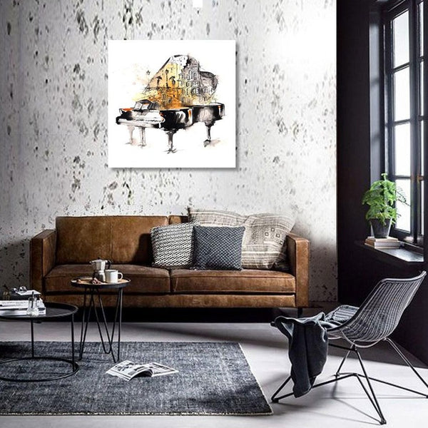 Piano Abstract Painting – Large Digital Art Print on Metal
