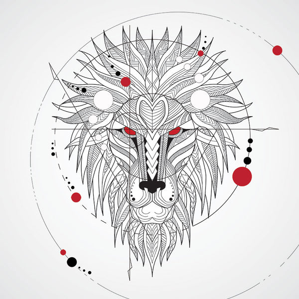 Black/White Geometrical Lion Head  –  Digital Art on Metal