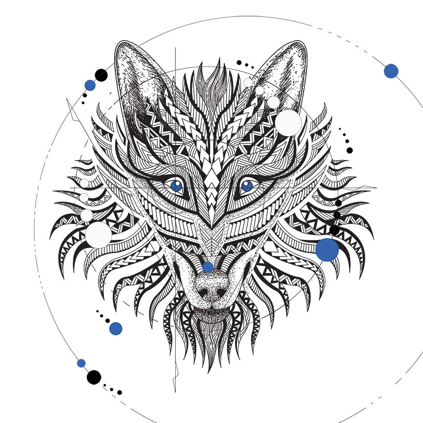 Wolf Head – Geometrical Black/White Digital Art
