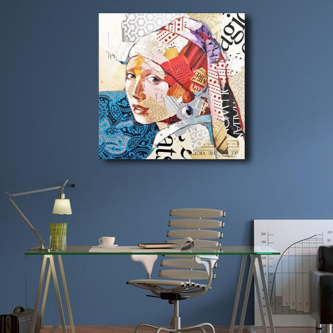 Carme Magem, Rereading the Girl with Pearl Earring – Collage Art Printed on Metal