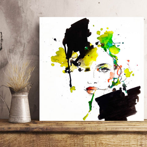 Carme Magem, Watercolor Woman Portrait – Art Printed on Metal