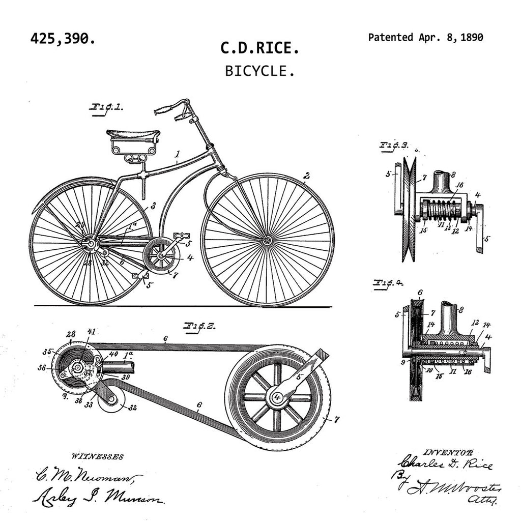 BICYCLE (1890, RICE) Patent Print-New Art Mix-newARTmix