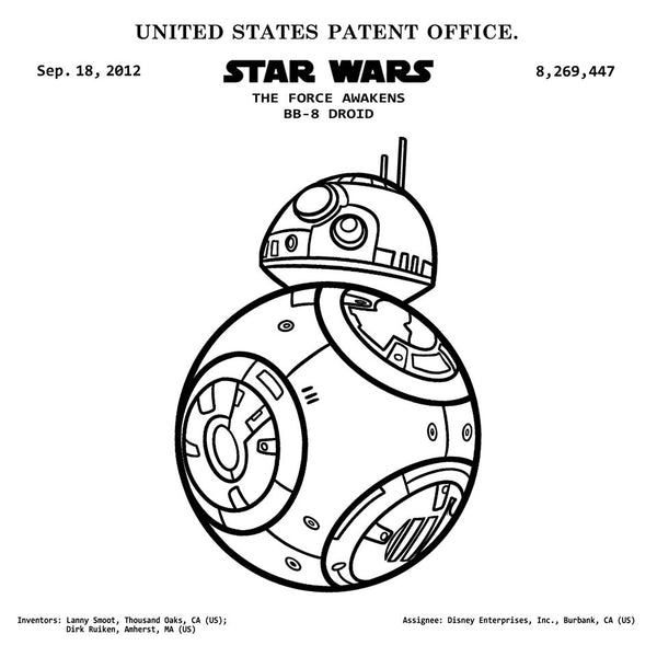 STAR WARS THE FORCE AWAKENS BB-8 DROID  (2012, Inventors: Lanny Smoot, Dirk Ruiken, US ) Patent Print