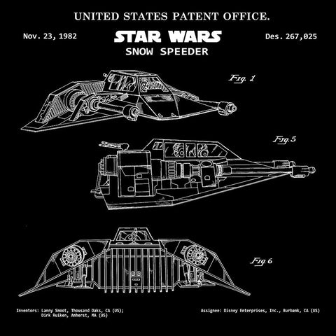 STAR WARS Vehicles Snow Speeder Patent Print – Stand Up Desk Decor