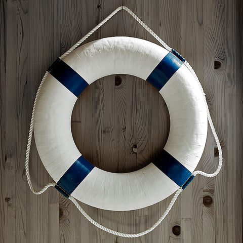 White Lifebuoy – Modern Minimalism Wall Art – Photo on Metal
