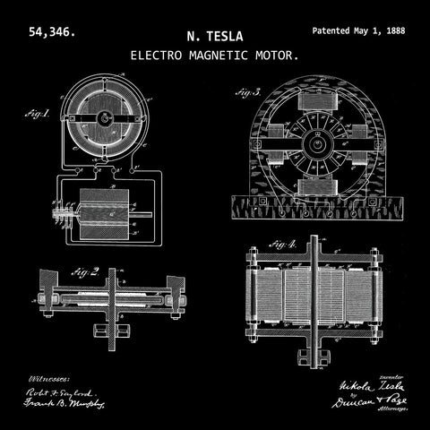 ELECTRO MAGNETIC MOTOR (1888, N. TESLA) Desktop Patent Print-New Art Mix-newARTmix