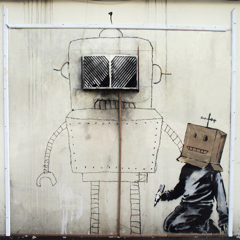 Banksy Torquay Robot Crop, Graffiti Street Art – Print on Metal (Dibond)