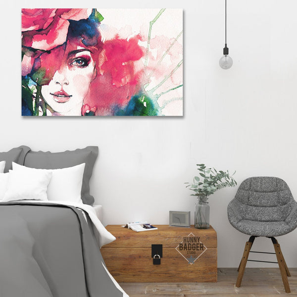 Abstract Watercolor Woman's Portrait – Large Art on Metal