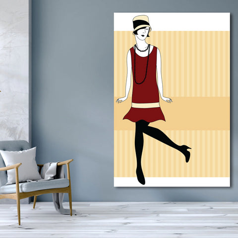 Dancing woman, Vintage Digital Art – XXL Wall Metal Print