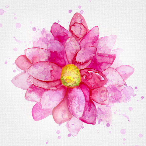 Abstract Watercolor Pink Flower – Extra Large Modern Digital ArtPrinted on Metal