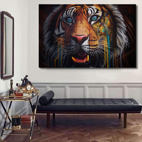 Tiger Multicolor Graffiti Street Art - Metal Poster