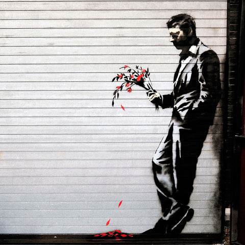 Banksy Sad Man with Flowers (Waiting In Vain), Graffiti Street Art