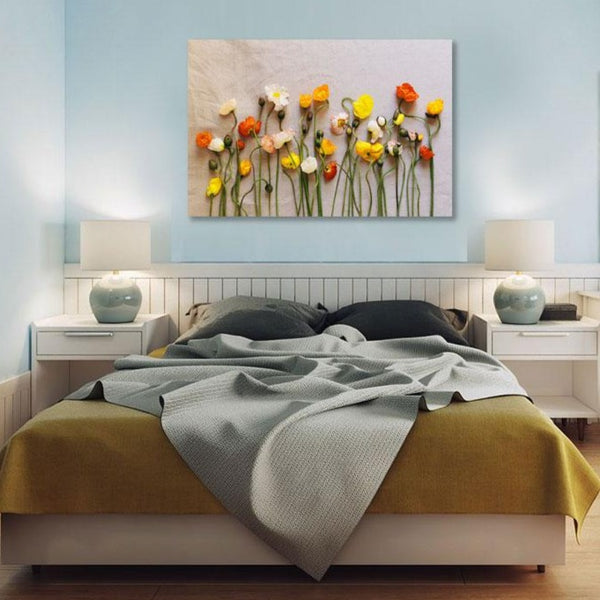 Multi-color Poppies on Canvas Background – Photo on metal