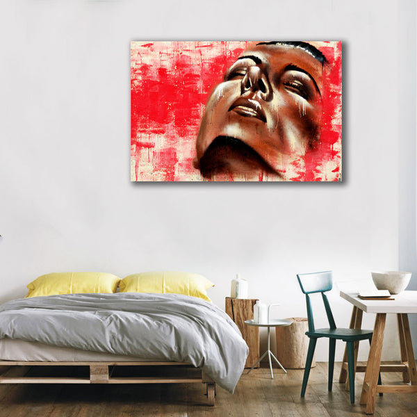Face on Red Wall – Graffiti Street Art Printed on Metal