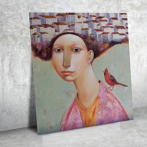Woman Portrait With Bird