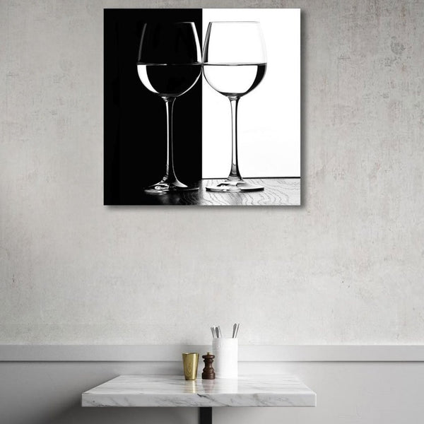 Black/White Wine Glasses, Photography on Metal