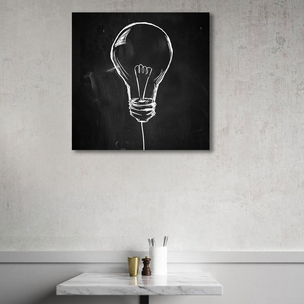 Light Bulb Hand-drawn Sketch on Blackboard – Extra Large Metal Poster