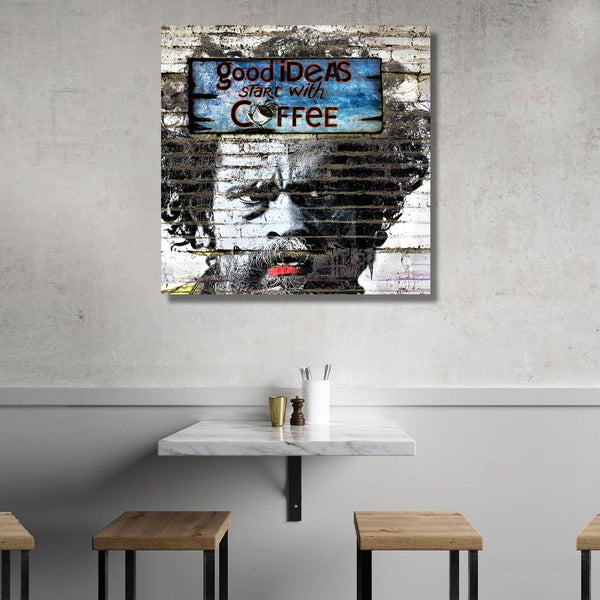 Good Ideas Start With Coffee Graffiti Street Art (Montreal) – Metal Poster