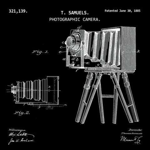 PHOTOGRAPHIC CAMERA. (1885, T. SAMUELS) Patent Print