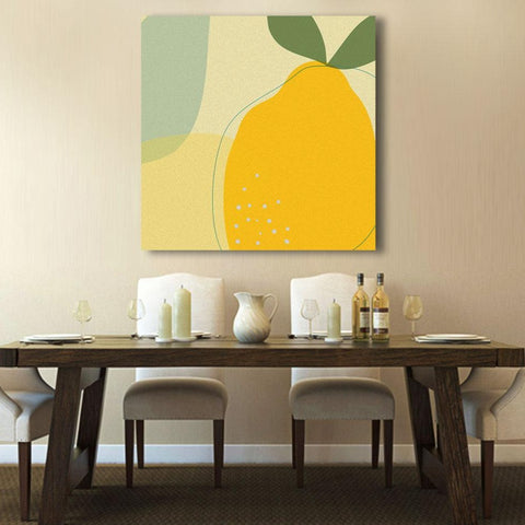 Lemon Fruits Abstract Digital Art, Kitchen Metal Poster