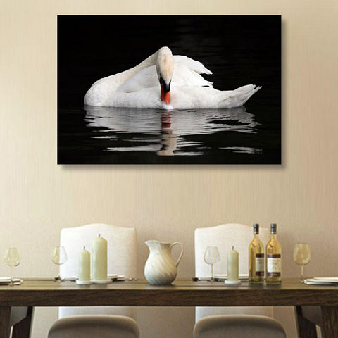 White swan – Modern Wall Art – Photo on Metal