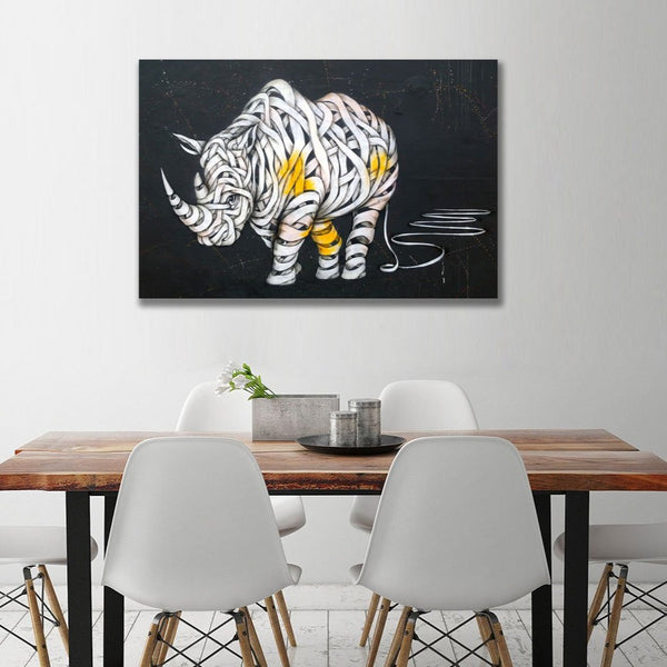 Rhinoceros Graffiti (Berlin) – Street Art – Print on Metal
