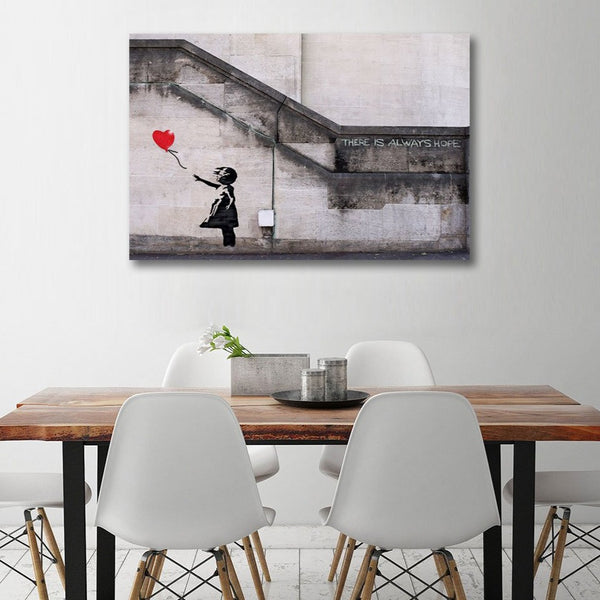 THERE IS ALWAYS HOPE (Girl with a Balloon), Graffiti – Metal Print