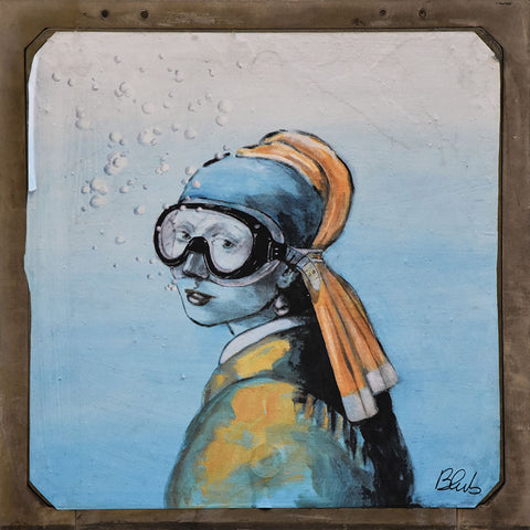 Woman in goggles – Street Art Printed on Metal – Limited edition