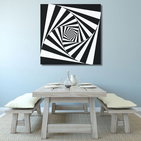 Black and White Abstract Digital Art Psychedelic Spiral – Metal Art Print