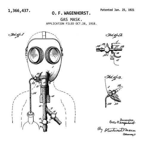 GAS MASK (1921, O. F. WAGENHORST) Patent Print-New Art Mix-newARTmix