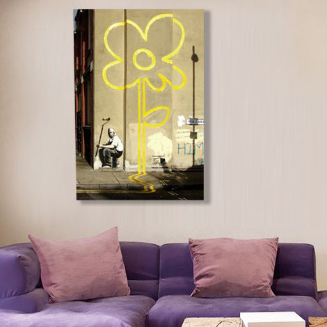 Banksy Yellow Flower Painter, Graffiti Street – Print on metal