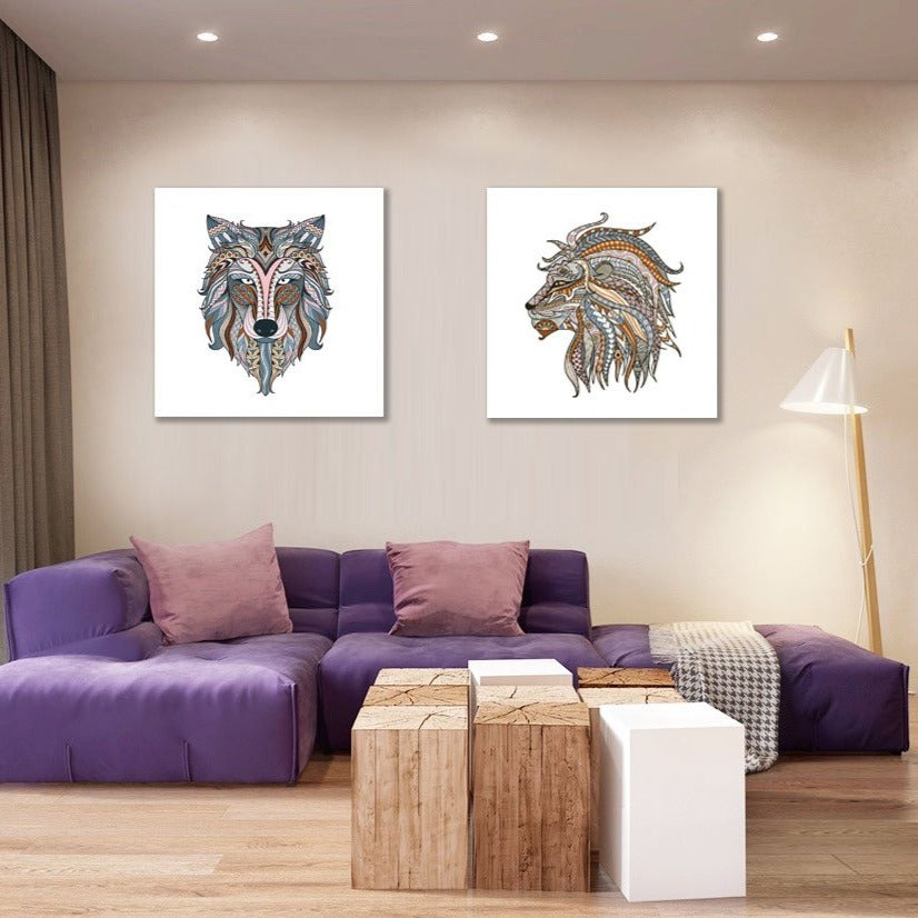 Colorful Lion Ethnic Head  – Large Modern Digital Art on Metal