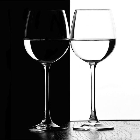 Black/White Wine Glasses, Photography - Metal Wall Art