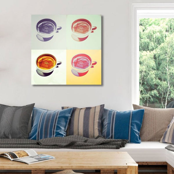 Coffee cups, Watercolor – Art Print on Metal